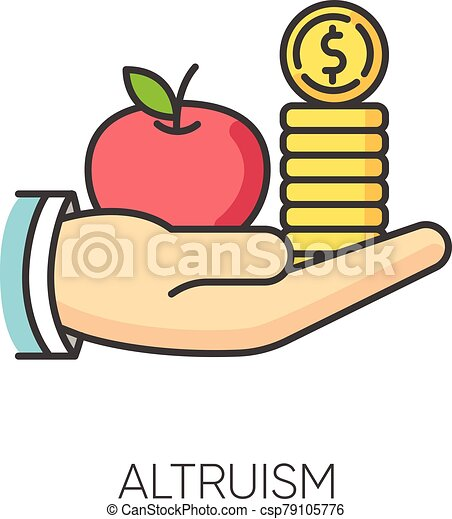 Altruism RGB color icon. Selfless giving and sharing, moral virtue. Financial support, friendly aid and philanthropy symbol. Lending money, credit loan. Isolated vector illustration - csp79105776