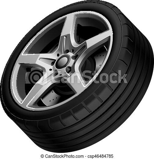 Aluminium alloy wheel isolated - csp46484785