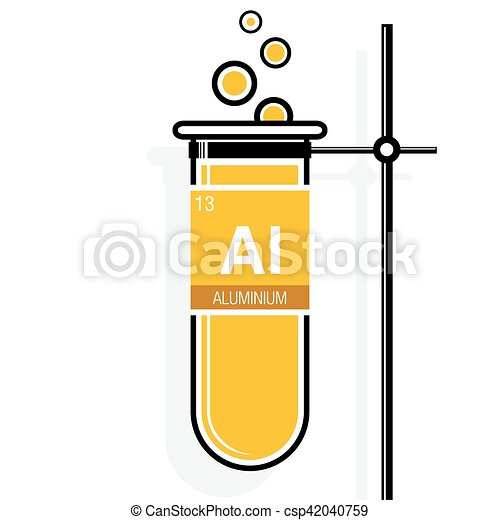 Aluminium symbol on label in a yellow test tube with holder element periodic table vector aluminium symbol on label in a yellow test tube with holder element number 13 of urtaz Image collections