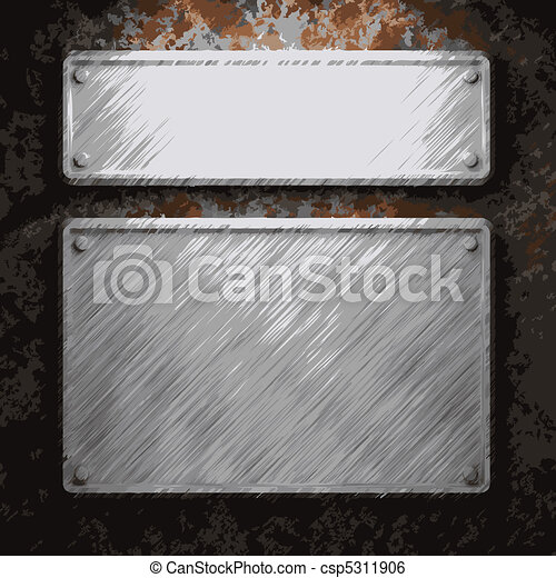 aluminum and rusty metal plate  - csp5311906