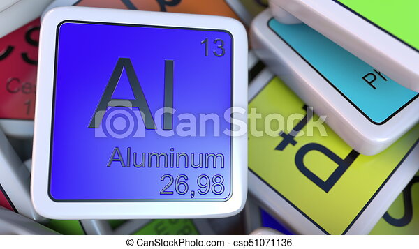 Aluminum block on the pile of periodic table of the chemical aluminum block on the pile of periodic table of the chemical elements blocks chemistry related urtaz Gallery