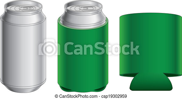 Aluminum Can and Collapsible Koozie - csp19302959
