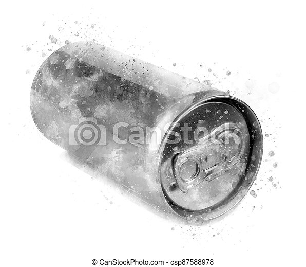 Aluminum can of 200 ml prosecco, isolated and blank - csp87588978