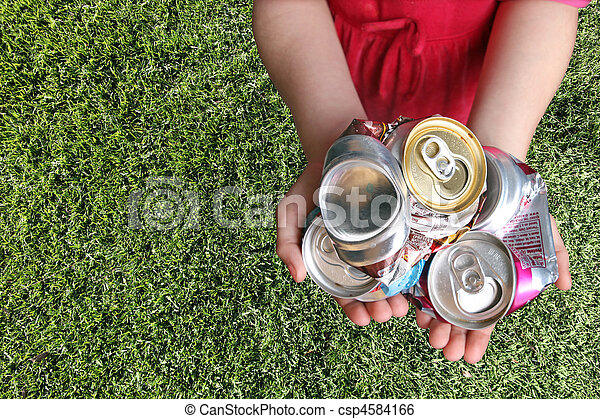Aluminum Cans Crushed For Recycling  - csp4584166