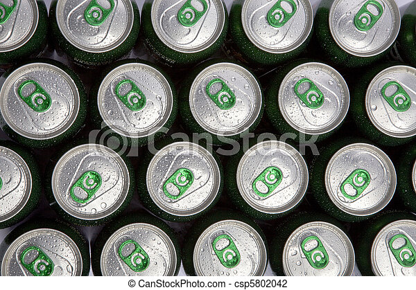 Aluminum cans in drops of water with keys close-up - csp5802042