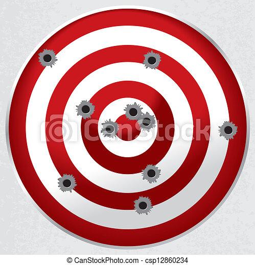 alvo, buracos bala, arma, gama, tiroteio - csp12860234