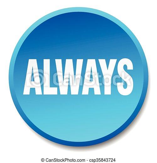 always blue round flat isolated push button - csp35843724