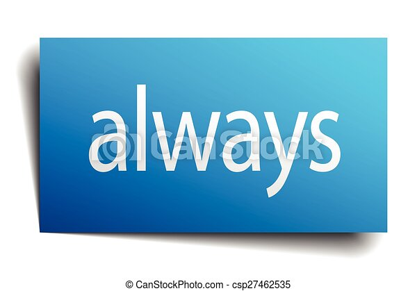 always blue square isolated paper sign on white - csp27462535