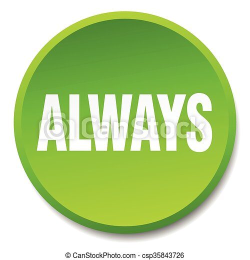 always green round flat isolated push button - csp35843726