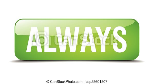always green square 3d realistic isolated web button - csp28601807