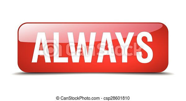 always red square 3d realistic isolated web button - csp28601810