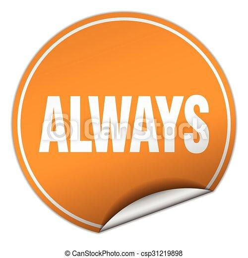 always round orange sticker isolated on white - csp31219898
