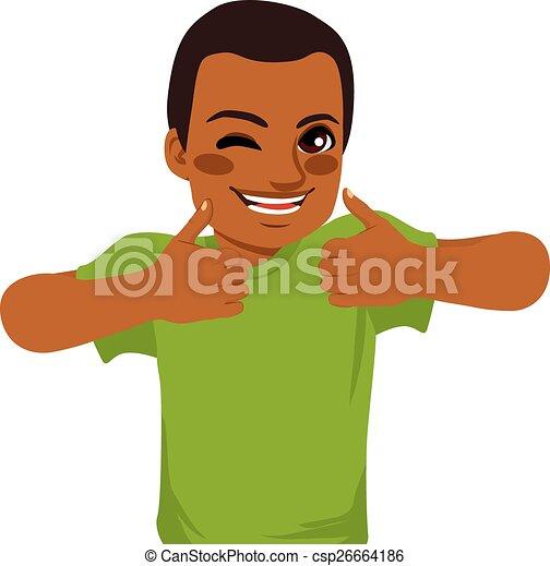 américain, africaine, pouces haut, homme - csp26664186