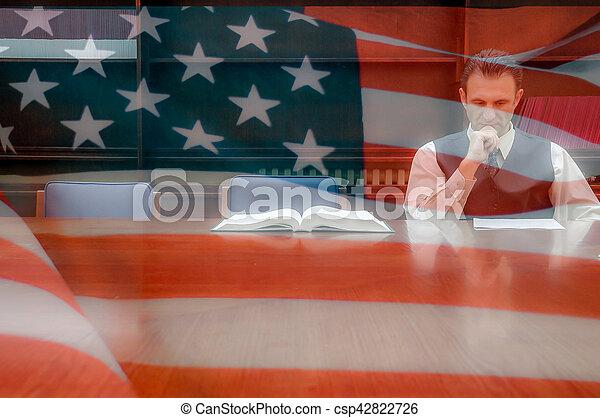 américain, avocat, bureau - csp42822726