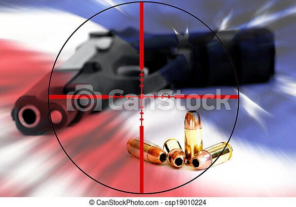 américain, droit, bras, ours, réticules - csp19010224