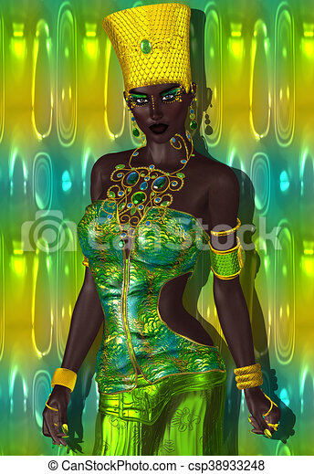 Americain Mode Beaute Africaine Parfait Abstract Mode Art