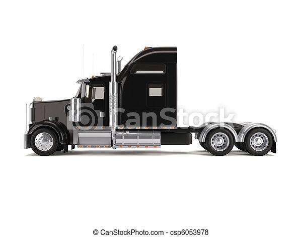Am ricain noir camion isol arri re plan am ricain camion noir blanc - Camion americain dessin ...