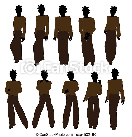 américain, silhouette, adolescent, illustration, africaine - csp4532190