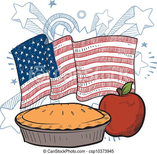 américain, tarte, croquis, pomme - csp10373945
