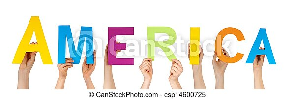 amérique, tenant mains - csp14600725