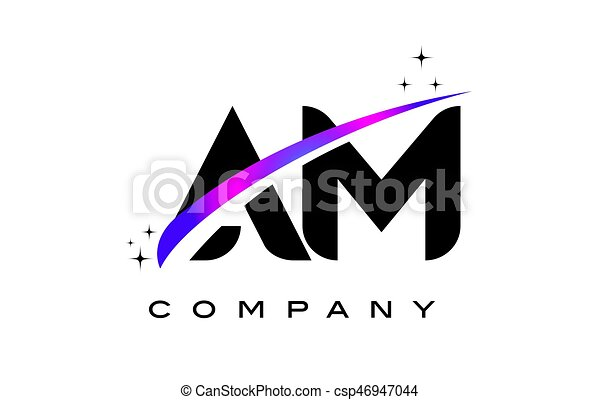 Am A M Black Letter Logo Design With Purple Magenta Swoosh And Stars