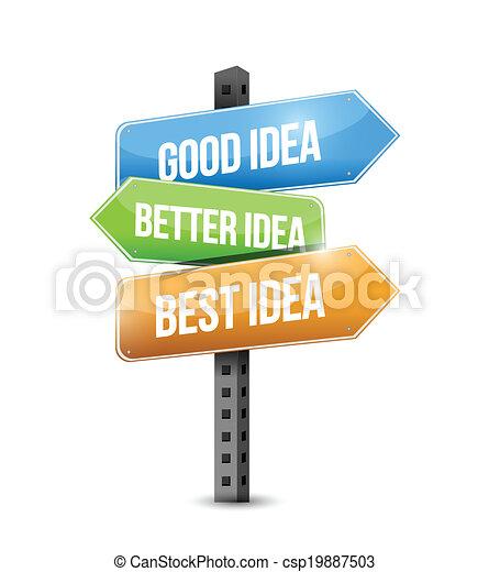 Gute, bessere, beste Ideen Illustration - csp19887503