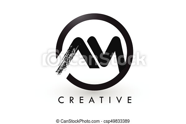 Line Art Letters : Am brush letter logo design creative brushed letters icon