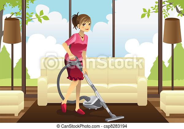 Ama de casa pasar la aspiradora por alfombra sala el limpiar con la aspiradora vector - Limpieza de alfombras en casa ...