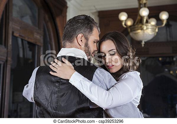 amaestrado, tímido, mujer, tango, hombre - csp39253296