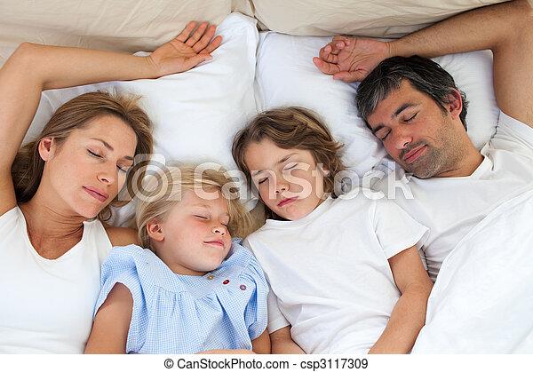 amando, junto, dormir, família - csp3117309