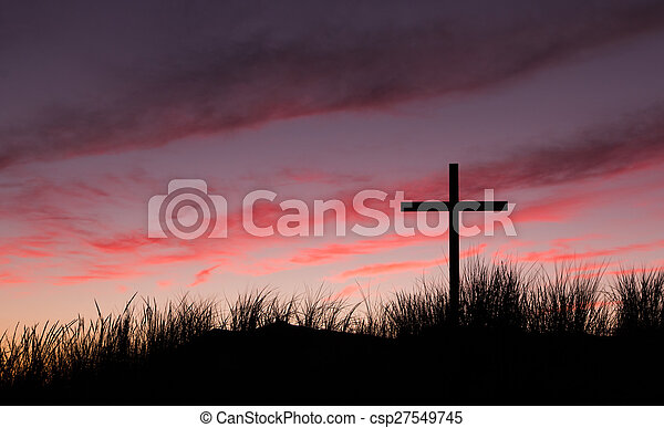 amanecer, cielo, cruz, rojo - csp27549745