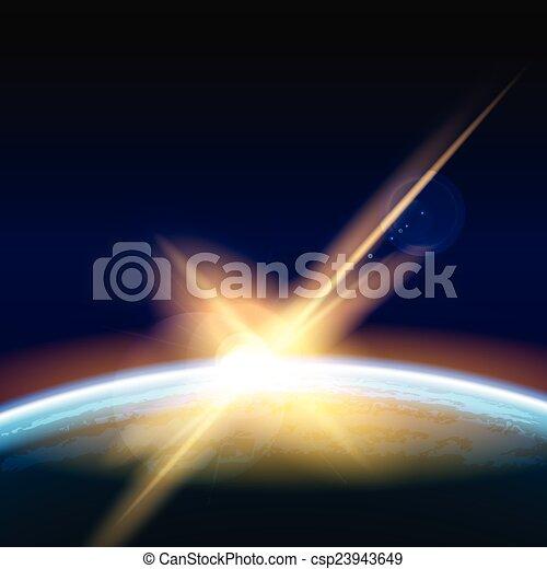 amanhecer, espaço - csp23943649