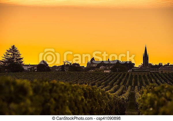 amanhecer, vinhedo, são, emilion, vinho bordéus - csp41090898