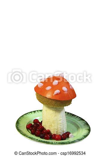 Amanita mushroom is made from fruit - csp16992534