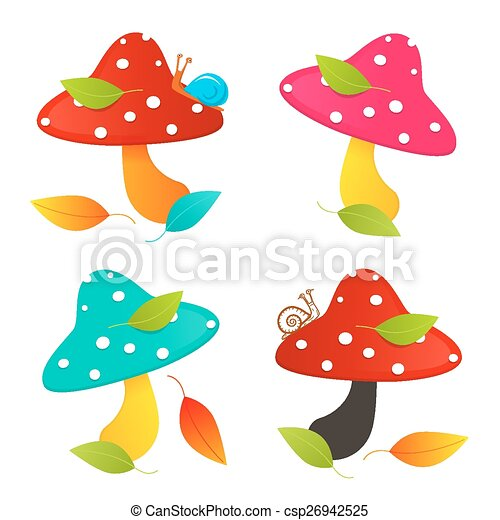 Amanita Mushroom Set - Colorful Vector Illustration - csp26942525