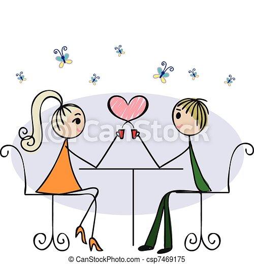 Amantes en un café - csp7469175