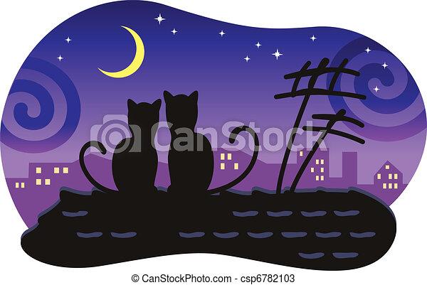 Amantes de gatos sentados en el techo de la casa y mira la luna. - csp6782103