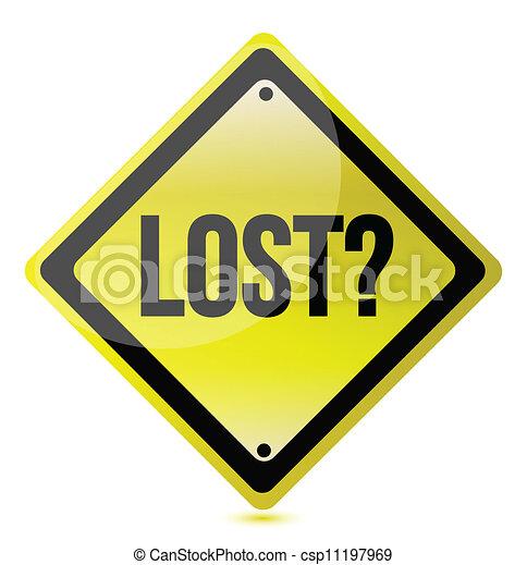 Diseño de ilustración de signos amarillo perdido - csp11197969