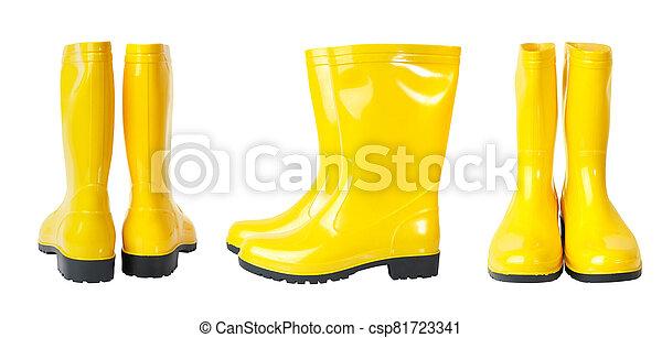 amarillo, lluvia, blanco, aislado, botas, plano de fondo, conjunto - csp81723341
