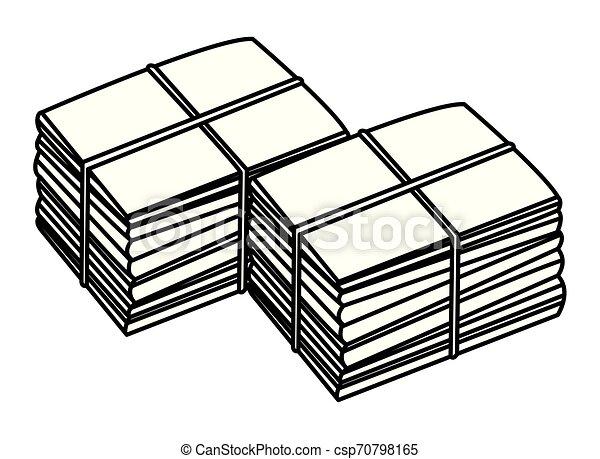 Dos pilas de papel amarradas en blanco y negro - csp70798165