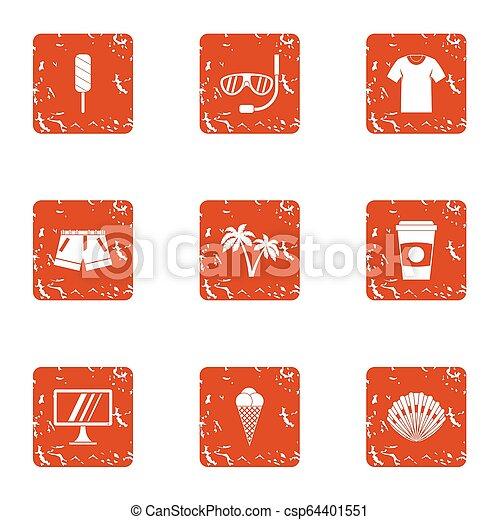 Amateur icons set, grunge style - csp64401551