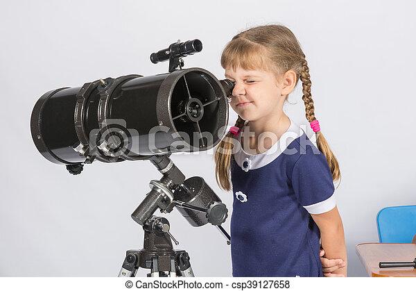 amateur, télescope, regarder, astronome, par, étoiles, girl