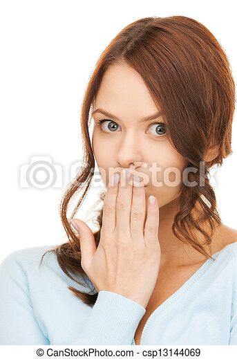 amazed woman with hand over mouth - csp13144069
