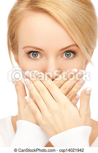 amazed woman with hand over mouth - csp14021942