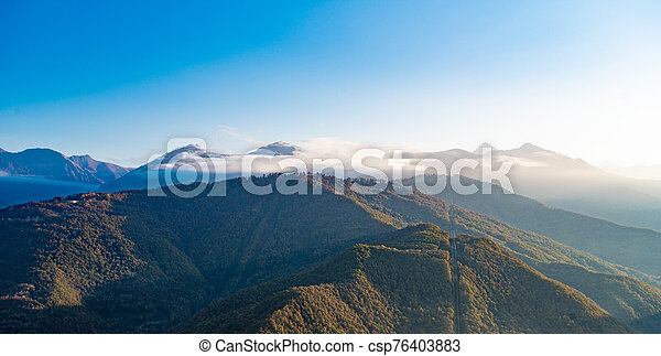 Amazing aerial view of the Alps at sunny autumn day - csp76403883
