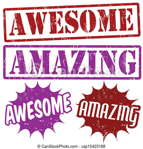 amazing and awesome stamps set of amazing and awesome grunge rubber rh canstockphoto com awesome clip art letters awesome sauce clip art
