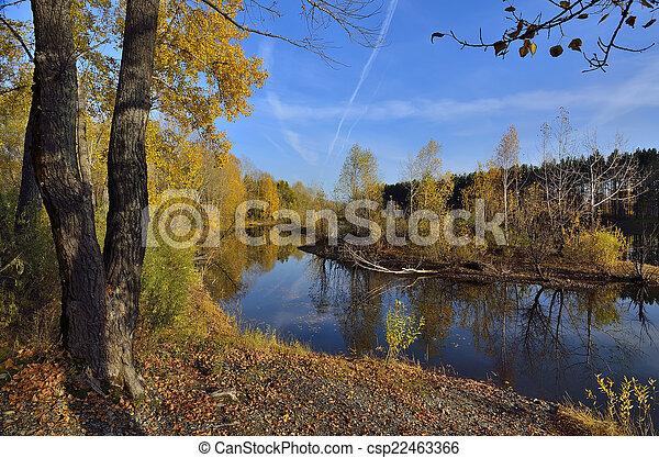 Amazing autumn landscape near the water - csp22463366