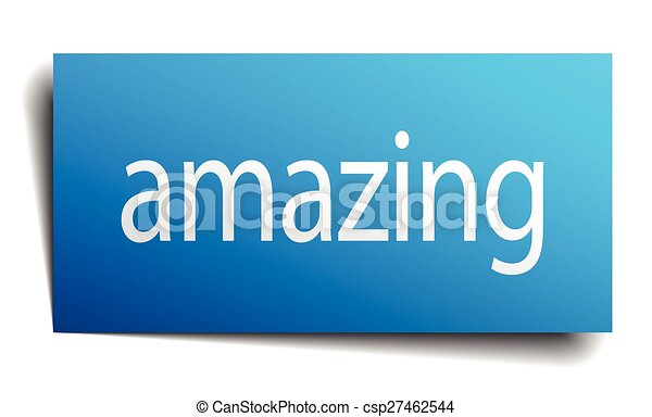 amazing blue square isolated paper sign on white - csp27462544
