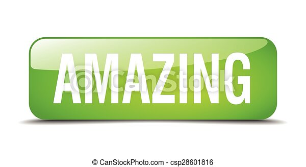 amazing green square 3d realistic isolated web button - csp28601816