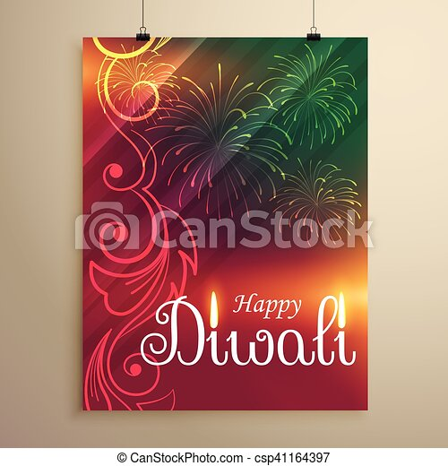 amazing indian happy diwali festival greeting flyer template with